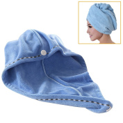 Jack & Rose Microfiber Hair Towel Premium Hair Drying Towel Super Absorbent for Different Hairstyles 23.5 * 25cm Blue