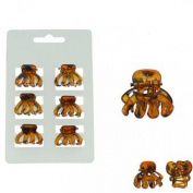 Set of 6 Mini Hair Clips - Plastic - Tablecloth - brown Accessory