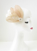 Nude Caramel Cream Feather Fascinator Hair Clip Ivory Bridal Vintage Pearl 117 *EXCLUSIVELY SOLD BY STARCROSSED BEAUTY*