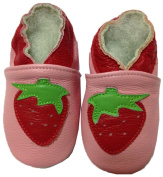 JT-Amigo Soft Sole Leather Baby Shoes, Strawberry, 0-6 Months