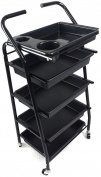 TekNoh 4 - Salon Storage Trolley - (High Gloss Black Finish) - Hairdresser Barber Hair Beauty Drawers Spa Cart