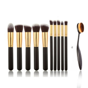 TimeSong 10Pcs Makeup Brushes Set Cosmetic Brush + Free Makeup Oval Tooth Brush Foundation Brush
