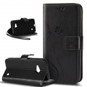 Microsoft Lumia 550 Case,ikasus Butterfly Flower Flip PU Leather Fold Wallet Pouch Case Premium Leather Wallet Flip Stand Credit Card ID Holders Case Cover for Microsoft Lumia 550,Black