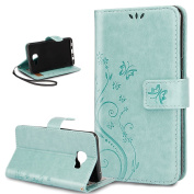 Galaxy C5 Case,ikasus Embossing Butterfly Flower Flip PU Leather Fold Wallet Pouch Case Premium Leather Wallet Flip Stand Credit Card ID Holders Case Cover for Samsung Galaxy C5 (2016) ,Green