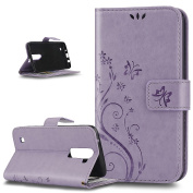 LG K7 Case,ikasus Embossing Butterfly Flower Flip PU Leather Fold Wallet Pouch Case Premium Leather Wallet Flip Stand Credit Card ID Holders Case Cover for LG K7 ,Light Purple
