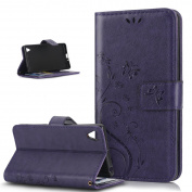 Sony Xperia X Case,ikasus Butterfly Flower Flip PU Leather Fold Wallet Pouch Case Premium Leather Wallet Flip Stand Credit Card ID Holders Case Cover for Sony Xperia X ,Purple