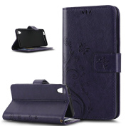 HTC Desire 626G Case,ikasus Butterfly Flower Flip PU Leather Fold Wallet Pouch Case Premium Leather Wallet Flip Stand Credit Card ID Holders Case Cover for HTC Desire 626G,Purple