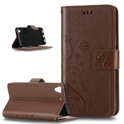 Huawei Y6 Case,ikasus Butterfly Flower Flip PU Leather Fold Wallet Pouch Case Premium Leather Wallet Flip Stand Credit Card ID Holders Case Cover for Huawei Y6 (127cm (5 inch),Coffee