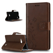 Nokia Lumia 730 Case,ikasus Butterfly Flower Flip PU Leather Fold Wallet Pouch Case Premium Leather Wallet Flip Stand Credit Card ID Holders Case Cover for Nokia Lumia 730,Coffee