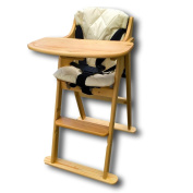 Safetots Folding Wooden Putaway High Chair Natural with Cream Cushion