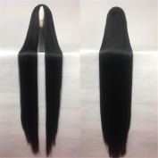 Quibine 100cm Women's Heat Resistant Long Straight Hair Black Anime Cosplay/Party Wigs
