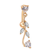 Butterme Elegant Leaf Design Dangle Belly Button Rings Body Piercing with Shining Cubic Zircon Gold Plated Sexy Navel Rings