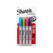 Sharpie 1810702 Brush Tip Permanent Marker, Assorted Colours, 4-Pack