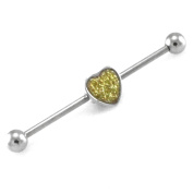 14g Stainless Steel Removable Heart Sparkle Charm Industrial Piercing Barbell