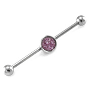 14g Stainless Steel Removable Sparkle Charm Industrial Piercing Barbell