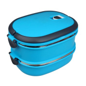 Transer® Multilayer Stainless Steel Insulation Lunch Bento Box Food Container Handle Lunch Pouch Blue