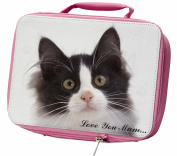 Black White Cat 'Love You Mum' Insulated Pink Lunch Box