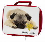 'Happy Easter' Pug Dog Insulated Red Lunch Box