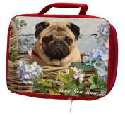Pug Dog in Basket 'Love You Mum' Insulated Red Lunch Box