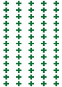 Green Cross Flag self adhesive matt paper labels / stickers