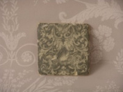 Set of 4 Baroque Pale Vertigree Green and Cream Coasters with Cork Bottom
