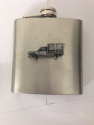 Peugeot 404 Pick Up ref175 pewter effect car emblem on 180ml Stainless Steel Hip Flask Captive Top