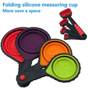 Jecxep Portable Silicone Measuring Cups & Red Measuring Spoons Set, Collapsible 8-Piece Set, 8 Sizes