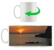 Sunset over the sea, Motif cup in white ceramic 300ml, Great gift idea for any occasion. Your new favourite mug for coffee, tea and hot drinks.