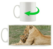 Lion mother with child, motif cup in white ceramic 300ml, Great gift idea for any occasion. Your new favourite mug for coffee, tea and hot drinks.