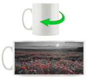 Great poppies field black / white, Motive cup in white ceramic 300ml, Great gift idea for any occasion. Your new favourite mug for coffee, tea and hot drinks.