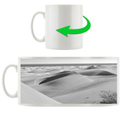 beautiful desert by the sea black / white, Motive cup in white ceramic 300ml, Great gift idea for any occasion. Your new favourite mug for coffee, tea and hot drinks.