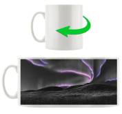 Auroras over hills black / white, Motive cup in white ceramic 300ml, Great gift idea for any occasion. Your new favourite mug for coffee, tea and hot drinks.