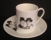 LAUREL AND HARDY ESPRESSO CUP AND SAUCER