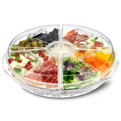 On Ice 8 Section Appetiser Tray - Ice Chilled Sharing Platter with Dip Cup and Lids for Fresh Snacks