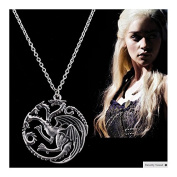 "Necklace and metal pendant. Television series GAME OF THRONES. Model ""Three dragons"". Silver colour."