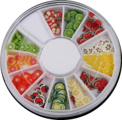 LHWY 12 Colour DIY Nail Art Decorations Fruit Slices 3D Polymer Clay Tiny Nail Art