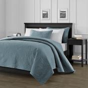 Chezmoi Collection Austin 3-Piece Oversized Bedspread Coverlet Set King, Spa Blue, 300cm by 270cm