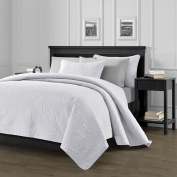 Chezmoi Collection 3 Piece 300cm by 270cm Austin Oversized Bedspread Coverlet Set, King, White