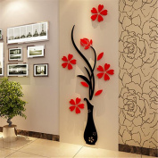 Yingwei Red Vase Flower Tree Crystal 3D Wall Stickers