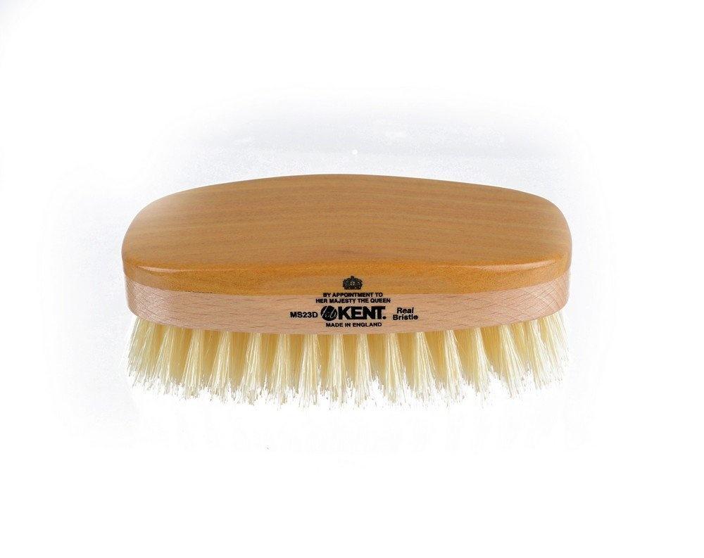 Kent MS23D Finest Men's Range Military Style Rectangular Satin and Beech  Wood Natural Bristle Brush