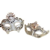 His & Hers Luxury Set Masquerade Masks [Silver Themed] - Ivory Silver