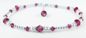 Damali Handmade Sterling Silver Crystal Anklet Simulated Birthtstone Ruby - July