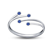 925 Sterling Silver White Gold Plated Adjustable Size Bypass Women's Toe Ring in Blue CZ Diamond