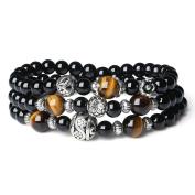 AmorWing Black Onyx and Tiger Eye Wrap Wrist Mala Bracelet