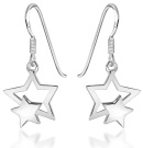 Tuscany Silver Sterling Silver Double Star Drop Earrings