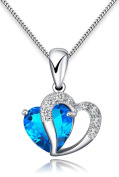 FLORAY Woman's Blue Heart Crystal with Silver Heart Pendant Necklace, Sterling Silver Chain.