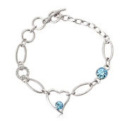 J & F - Bracelet with Crystal and Heart, Rhodium
