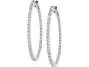 14k White Gold Diamond 35 MM Hoops