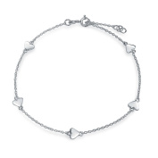 Bling Jewellery Sterling Silver Valentine Heart Charm Anklet
