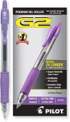Pilot G2 Retractable Premium Gel Ink Roller Ball Pens, Extra Fine Point, Purple Ink, Dozen Box